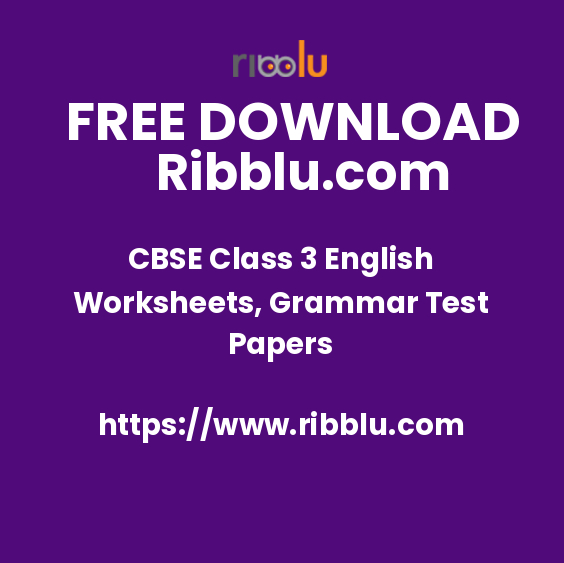 CBSE Class 3 English Worksheets, Grammar Test Papers