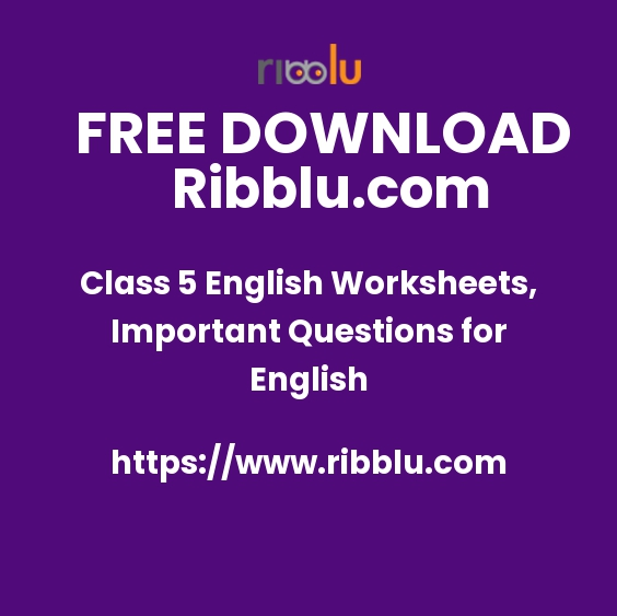 Class 5 English Worksheets, Important Questions for English