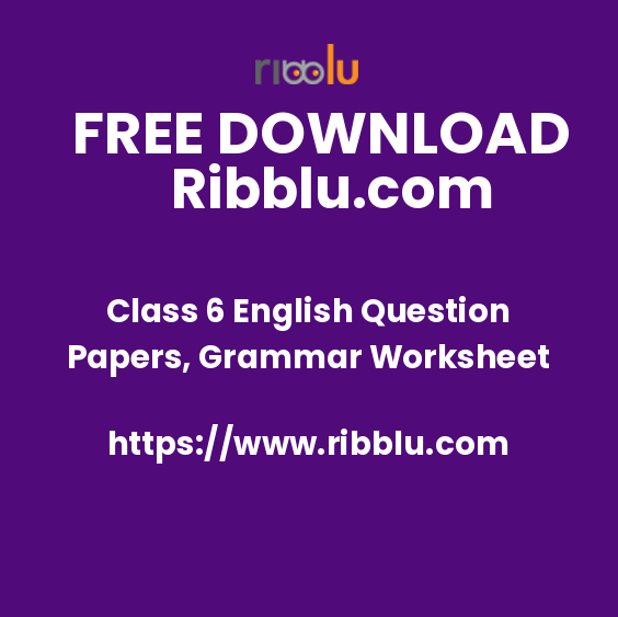 Class 6 English Question Papers, Grammar Worksheet