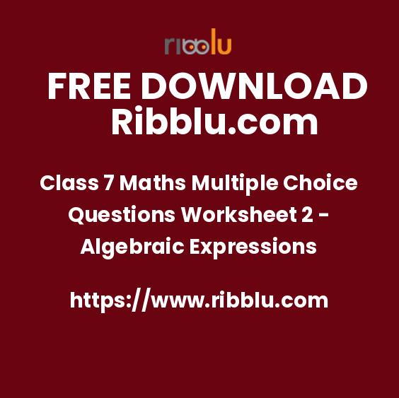 Class 7 Maths Multiple Choice Questions Worksheet 2 - Algebraic Expressions