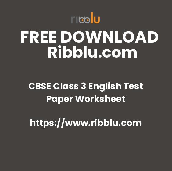CBSE Class 3 English Test Paper Worksheet