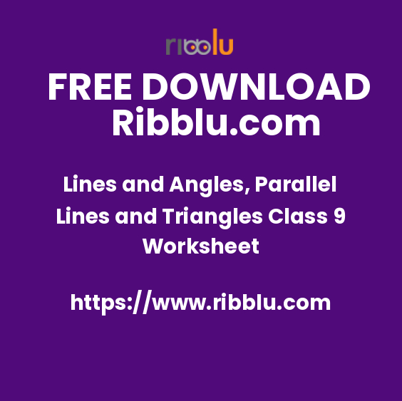 Lines and Angles, Parallel Lines and Triangles Class 9 Worksheet