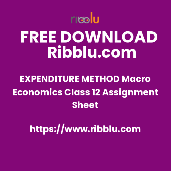 EXPENDITURE METHOD Macro Economics Class 12 Assignment Sheet