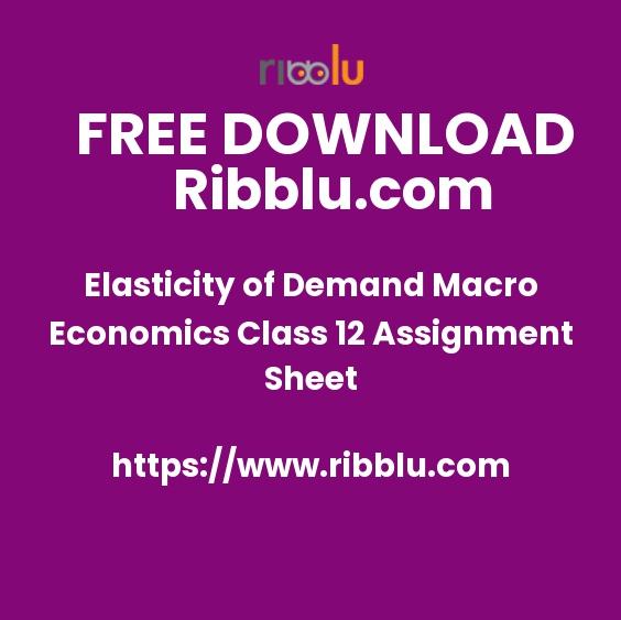 Elasticity of Demand Macro Economics Class 12 Assignment Sheet